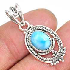 2.87cts natural blue larimar 925 sterling silver pendant jewelry r90170