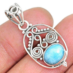 2.90cts natural blue larimar 925 sterling silver pendant jewelry r90173