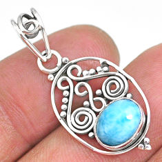 2.83cts natural blue larimar 925 sterling silver pendant jewelry r90174