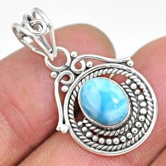 3.10cts natural blue larimar 925 sterling silver pendant jewelry r90176