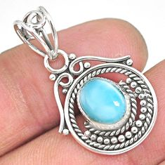 2.93cts natural blue larimar 925 sterling silver pendant jewelry r90193