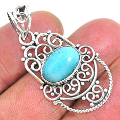 4.26cts natural blue larimar 925 sterling silver pendant jewelry r93882