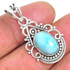 4.40cts natural blue larimar 925 sterling silver pendant jewelry r93886