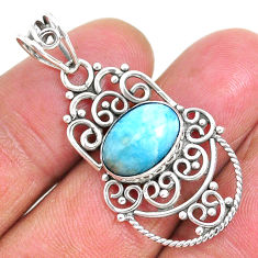 4.28cts natural blue larimar 925 sterling silver pendant jewelry r93890