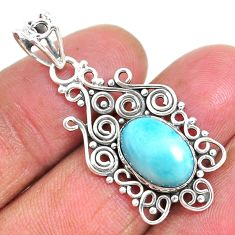 4.06cts natural blue larimar 925 sterling silver pendant jewelry r93893