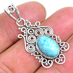 4.21cts natural blue larimar 925 sterling silver pendant jewelry r93896