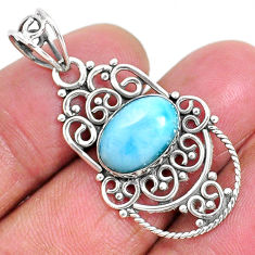 4.43cts natural blue larimar 925 sterling silver pendant jewelry r93899