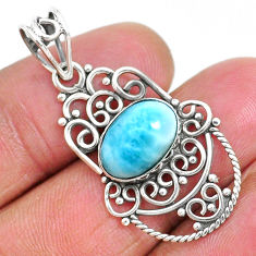 4.21cts natural blue larimar 925 sterling silver pendant jewelry r93900