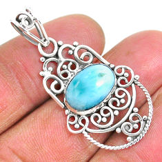 4.28cts natural blue larimar 925 sterling silver pendant jewelry r93901