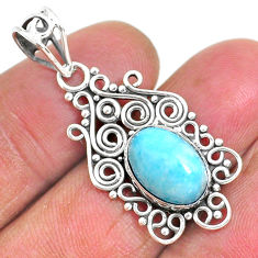 4.26cts natural blue larimar 925 sterling silver pendant jewelry r93902