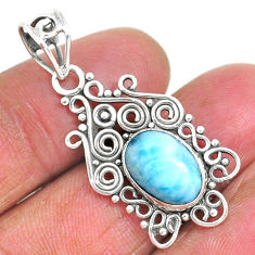 3.98cts natural blue larimar 925 sterling silver pendant jewelry r93903