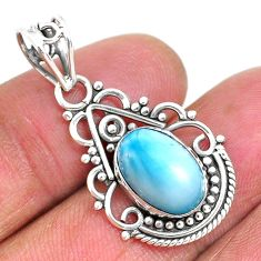 4.40cts natural blue larimar 925 sterling silver pendant jewelry r93905