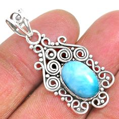 4.34cts natural blue larimar 925 sterling silver pendant jewelry r93908