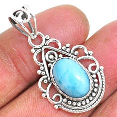 4.18cts natural blue larimar 925 sterling silver pendant jewelry r93909