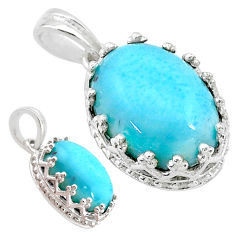6.26cts natural blue larimar 925 sterling silver pendant jewelry t20481