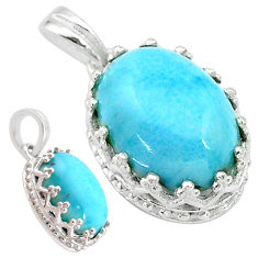 6.25cts natural blue larimar 925 sterling silver pendant jewelry t20489