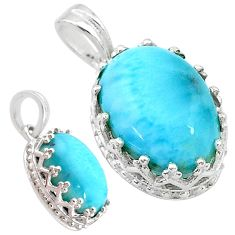 5.87cts natural blue larimar 925 sterling silver pendant jewelry t20491