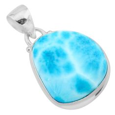 15.65cts natural blue larimar 925 sterling silver pendant jewelry t24382