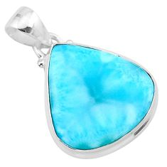 14.23cts natural blue larimar 925 sterling silver pendant jewelry t24388