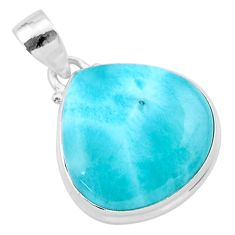 15.55cts natural blue larimar 925 sterling silver pendant jewelry t24409