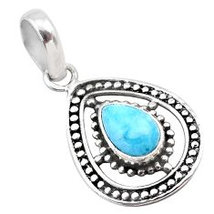 2.72cts natural blue larimar 925 sterling silver pendant jewelry t28325