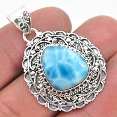 8.22cts natural blue larimar 925 sterling silver pendant jewelry t32522
