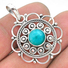 2.86cts natural blue larimar 925 sterling silver pendant jewelry t32749