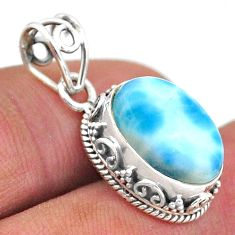 6.27cts natural blue larimar 925 sterling silver handmade pendant jewelry t46769