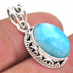 6.55cts natural blue larimar 925 sterling silver handmade pendant jewelry t46772