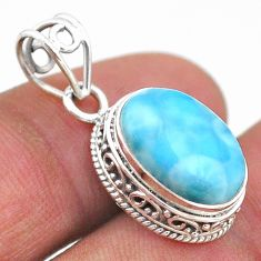 6.15cts natural blue larimar 925 sterling silver handmade pendant jewelry t46780