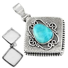 6.01cts natural blue larimar 925 sterling silver poison box pendant r30642