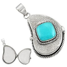 5.45cts natural blue larimar 925 sterling silver poison box pendant r30654