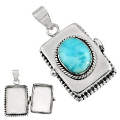 6.39cts natural blue larimar 925 sterling silver poison box pendant r30665