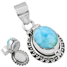 5.53cts natural blue larimar 925 sterling silver poison box pendant r55621