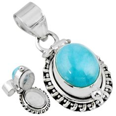 5.53cts natural blue larimar 925 sterling silver poison box pendant r55622