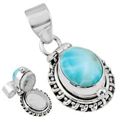 5.53cts natural blue larimar 925 sterling silver poison box pendant r55624