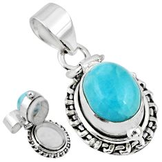 5.53cts natural blue larimar 925 sterling silver poison box pendant r55625