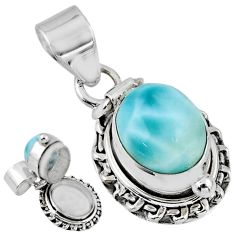5.39cts natural blue larimar 925 sterling silver poison box pendant r55627