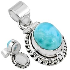 5.60cts natural blue larimar 925 sterling silver poison box pendant r55628