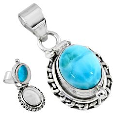 5.21cts natural blue larimar 925 sterling silver poison box pendant r55642