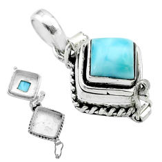 2.35cts natural blue larimar 925 sterling silver poison box pendant t52501