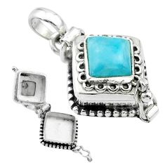 2.51cts natural blue larimar 925 sterling silver poison box pendant t52547