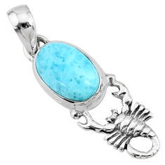 4.18cts natural blue larimar 925 sterling silver scorpion pendant jewelry r72349