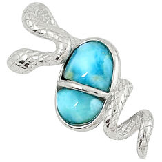 Natural blue larimar 925 sterling silver snake pendant jewelry a32896 c15384