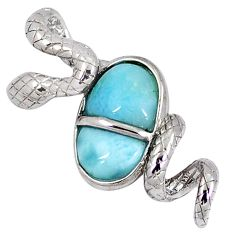 Natural blue larimar 925 sterling silver snake pendant jewelry a40272 c15383