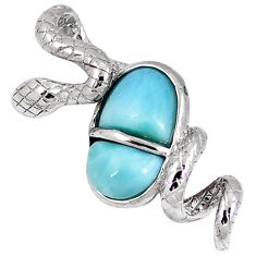 Natural blue larimar 925 sterling silver snake pendant jewelry a40274 c15392