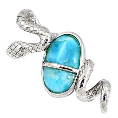 Natural blue larimar 925 sterling silver snake pendant jewelry a40276 c15382