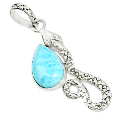3.91cts natural blue larimar 925 sterling silver snake pendant jewelry r78582