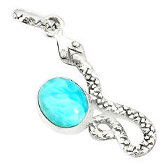 3.91cts natural blue larimar 925 sterling silver snake pendant jewelry r78590