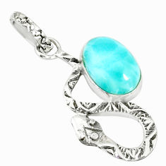 3.62cts natural blue larimar 925 sterling silver snake pendant jewelry r78595
